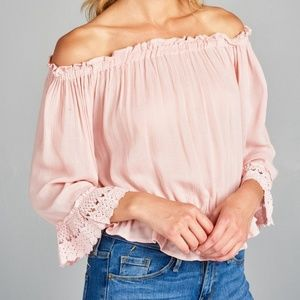 Tops - Pink Off Shoulder Lace Sleeve Top